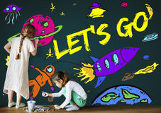 Espacio Rocket Joyful Graphic Concept de la imaginación de los niños Imágenes de archivo libres de regalías