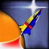 Espacio Rocket retro Imágenes de archivo libres de regalías