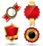 Espacio rojo de la colección de las etiquetas de la calidad superior de oro mejor para el texto Foto de archivo libre de regalías