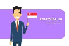 Espacio singapurense de Banner With Copy del hombre de negocios de Singapur de la bandera de negocios del control asiático del ho Foto de archivo