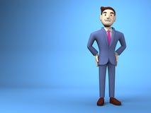 Espacio sonriente de On Blue Text del hombre de negocios Imagen de archivo libre de regalías