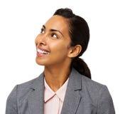 Espacio sonriente de Looking At Copy de la empresaria Imagen de archivo