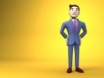 Espacio sonriente de On Yellow Text del hombre de negocios Imagen de archivo libre de regalías