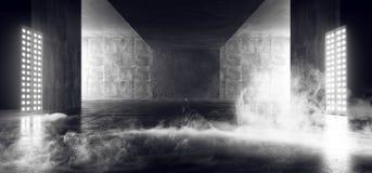 Espacio vacío Sci Fi de Asphalt Hall Tunnel Fluorescent White Glowing del fondo concreto oscuro de neón del Grunge del extracto libre illustration