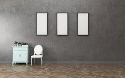Espacio vital en condominio sitio vacío con tres tablero blanco y gabinete Dise?o interior del vintage stock de ilustración