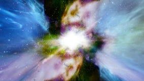 Espacio 2226: Vuelo a través de campos de estrella en espacio profundo stock de ilustración