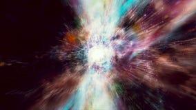 Espacio 2120: Vuelo a través de campos y de galaxias de estrella en espacio profundo como luz de las explosiones de la supernova ilustración del vector