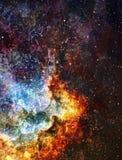 Espacio y estrellas cósmicos, fondo abstracto cósmico azul Foto de archivo