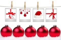 Espacios en blanco de la película con imágenes de los items temáticos de la Navidad Foto de archivo libre de regalías