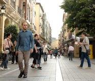 Espacios públicos en Logrono, España durante el verano Imagen de archivo