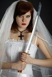 Espada armada de la novia joven Foto de archivo