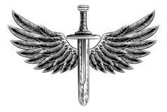 Espada coa alas grabar en madera del vintage Imagen de archivo