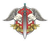 Espada con dos cráneos y cintas cons alas ilustración del vector