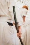 Espada de Katana en el festival de Oriente en Milán, Italia Fotografía de archivo