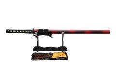 Espada de Katana Japanese no suporte preto Imagem de Stock Royalty Free