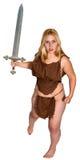 Espada de la batalla de la mujer de la acción de la fantasía aislada Imagen de archivo libre de regalías