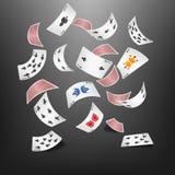 Espada de la tarjeta del póker dispersada Foto de archivo libre de regalías