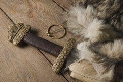 Espada de Viking em uma pele Foto de Stock Royalty Free