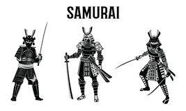 Espada del control del samurai delante del círculo rojo, guerrero de Japón, monoc ilustración del vector