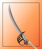 Espada del pirata manejada por Skeleton Hand Foto de archivo libre de regalías