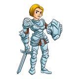 Espada e protetor da princesa With Battle do guerreiro Imagens de Stock
