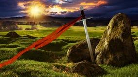 Espada en el paisaje soleado dramático ilustración del vector