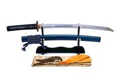 Espada japonesa no suporte Imagens de Stock Royalty Free