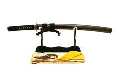 Espada japonesa no suporte Imagem de Stock