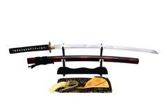 Espada japonesa no suporte Fotografia de Stock Royalty Free