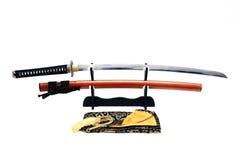 Espada japonesa no suporte Fotos de Stock Royalty Free