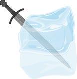 Espada no cubo de gelo Imagem de Stock Royalty Free