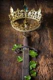 Espada oxidada y corona de oro Imagenes de archivo
