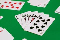 espada real del rubor recto, tarjeta del póker imagen de archivo