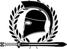 Espada y casco helénicos de la fantasía Imágenes de archivo libres de regalías