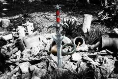 Espada y daga antiguas en el paisaje natural Foto de archivo