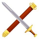 Espada y funda cruzadas Fotografía de archivo libre de regalías