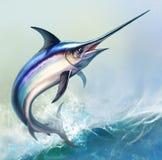 Espadarte contra o fundo das ondas de oceano ilustração royalty free