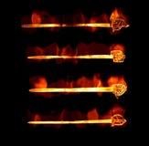 Espadas ardientes llameantes Imagen de archivo libre de regalías