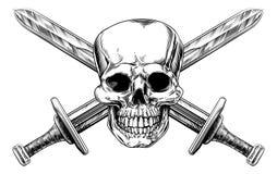 Espadas cruzadas del cráneo stock de ilustración