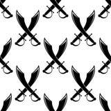 Espadas cruzadas o modelo inconsútil del machete stock de ilustración
