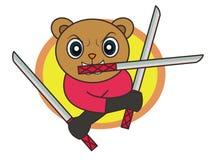Espadas de Ninja Bear Holding Three dos desenhos animados ilustração royalty free