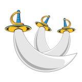 Espadas del guerrero del pirata Imagen de archivo