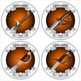 Espadas do pirata dos ícones Foto de Stock Royalty Free