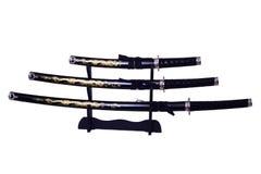 Espadas do samurai isoladas fotos de stock
