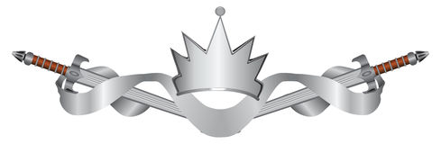 Espadas e coroa com fita heráldica Foto de Stock