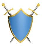 Espadas e protetor cruzados Fotografia de Stock Royalty Free