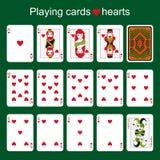 Espadas reales del flash del casino de las tarjetas que juegan Corazones Fotografía de archivo