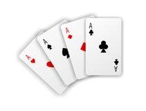 Espadas reales del flash del casino de las tarjetas que juegan Cuatro as en el fondo blanco Imagen de archivo