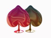 Espadas rojas y negras del símbolo de la tarjeta Fotos de archivo libres de regalías