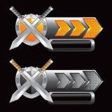 Espadas y blindaje de plata en flechas del oro y de la plata ilustración del vector